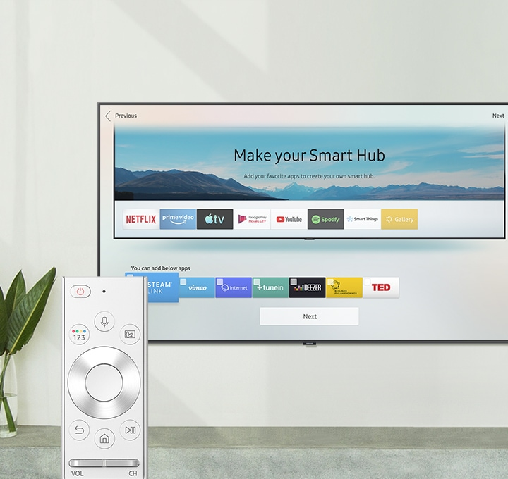 "One Remote Control and Smart TV; Smart Hub preview screen with the caption ""Make your Smart Hub. Add your favorite apps to create your own smart hub."""
