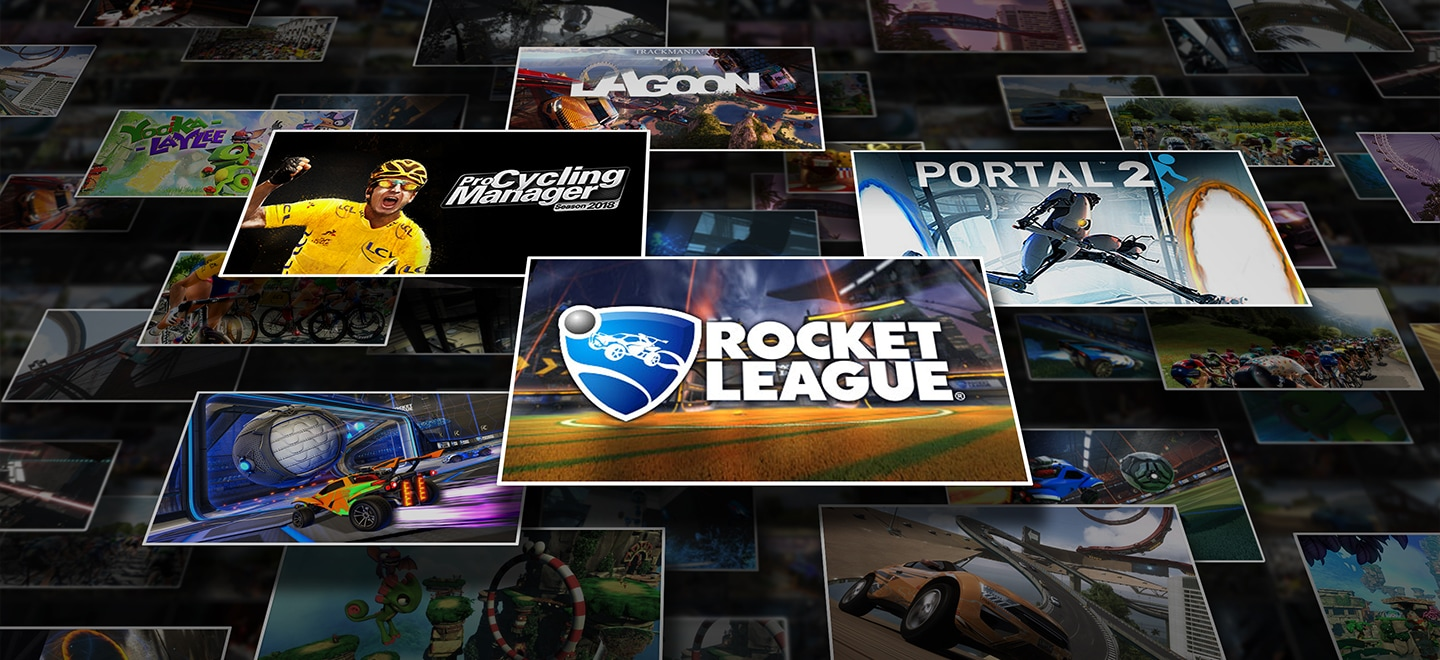 Image of stacked tiles, with each tile featuring various Steam games, including Rocket League®, Pro Cycling Manager 2018, Portal 2, and Trackmania² Lagoon.