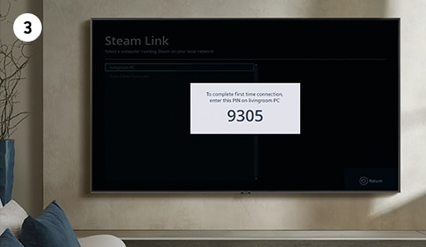Learn how to set up and use Steam Link on Samsung Smart TV. Step number 3 is to enter a PIN code that pops up on TV.