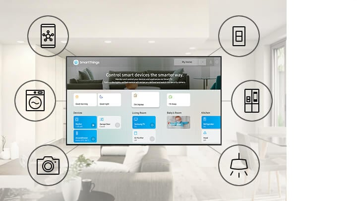 SmartThings UI on Smart TV with IoT icons; mobile phone, washing machine, camera, switch, refrigerator, light.