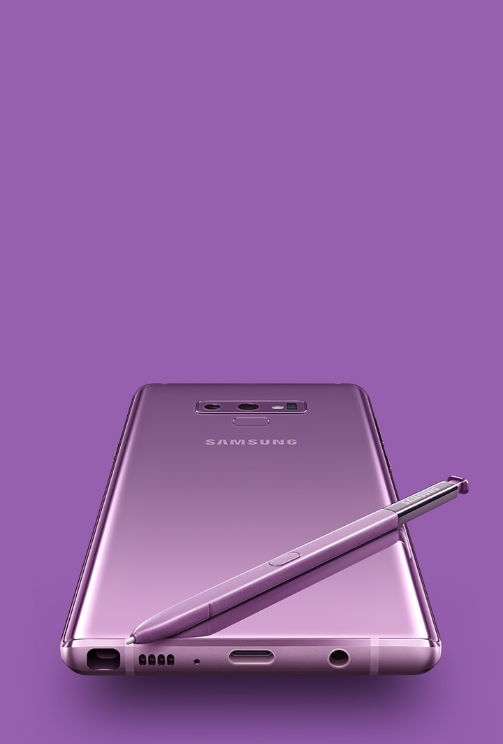 The Rear Of Ocean Blue Galaxy Note9 With Yellow S Pen On Top Viewed From