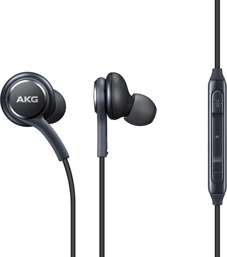 Galaxy S8 or S8+ earphones by AKG shown with control buttons