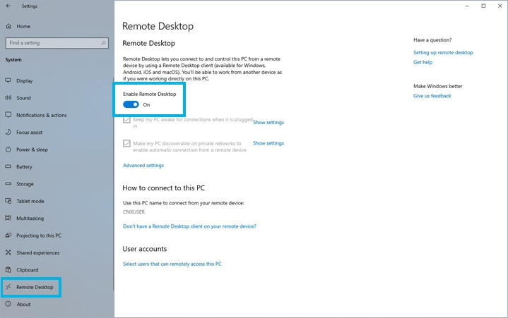 pc settings for remote desktop activation
