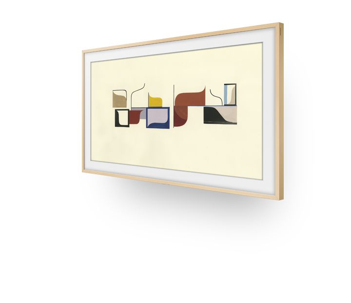 Angled left view of The Frame displaying a photograph.