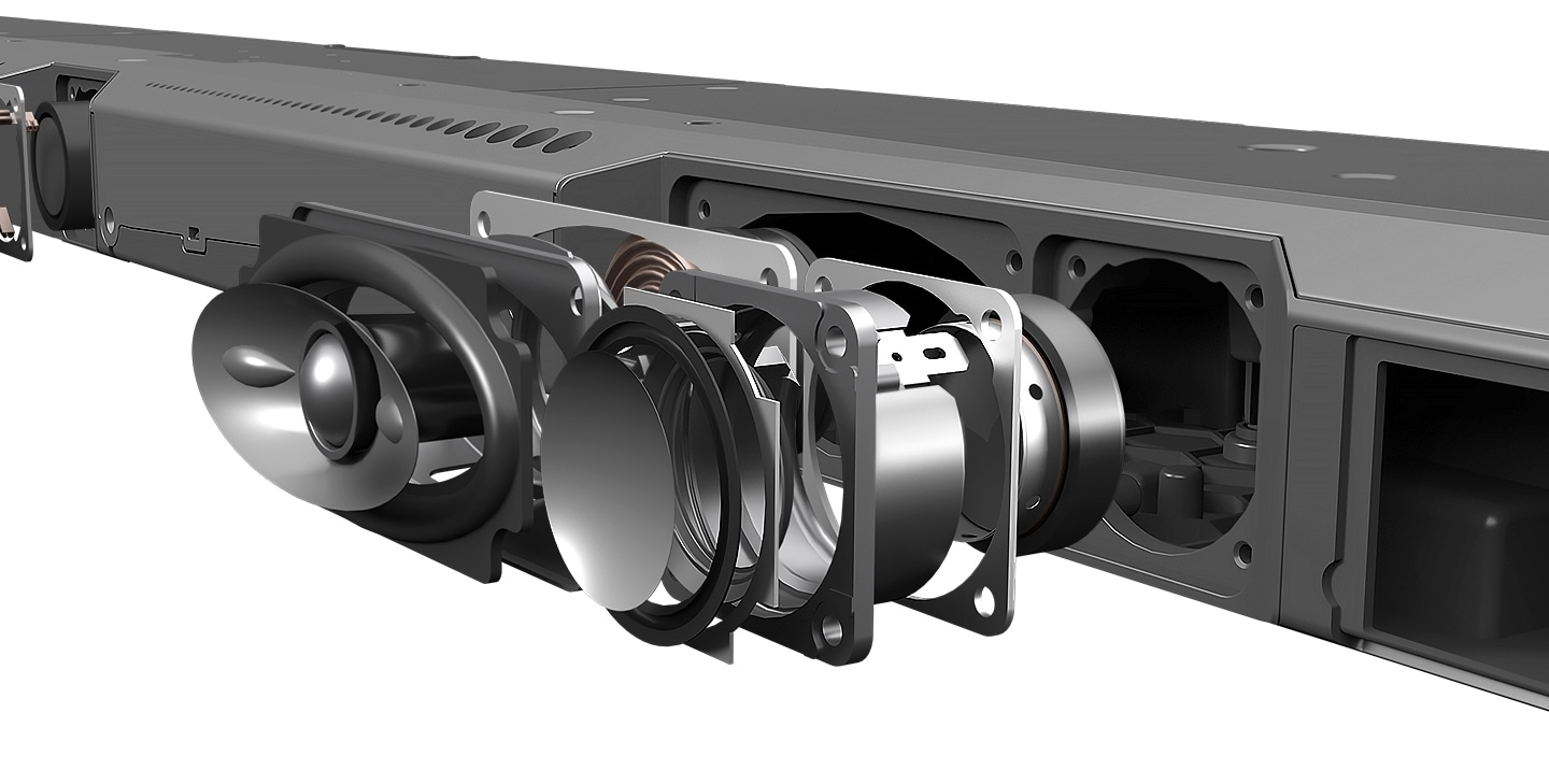 Samsung Soundbar is seen from the rear with individual speaker parts separated to show the amount of engineering that goes into the soundbar.