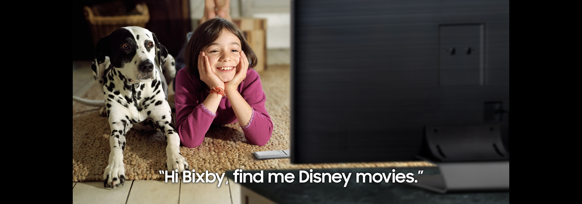 "Choose your type intro movie.  A child requesting ""Hi Bixby find me Disney movies"" to QLED."
