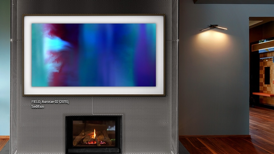 Samsung's The Frame displaying an art piece titled Aurore 02 by FIELD.