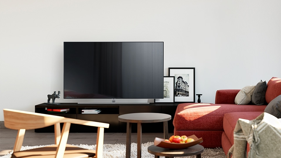Interior image of Samsung QLED TV on the stand