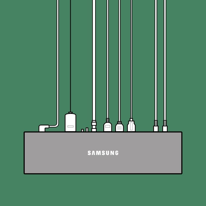 An illustration of Samsung One Connect Box of QLED TV with multiple cables