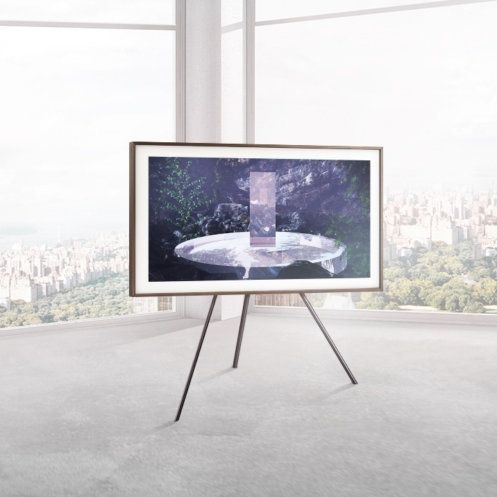 Samsung's The Frame on a stand displaying art