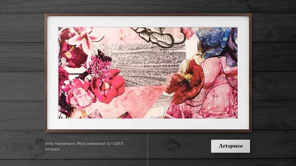 Samsung's The Frame displaying an art piece titled Photo Intersection 12-1 by Emily Hoerdemann
