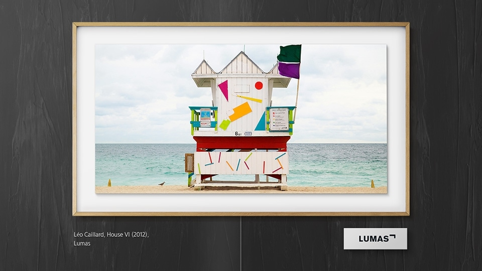 Samsung's The Frame displaying an art piece titled House VI by Léo Caillard
