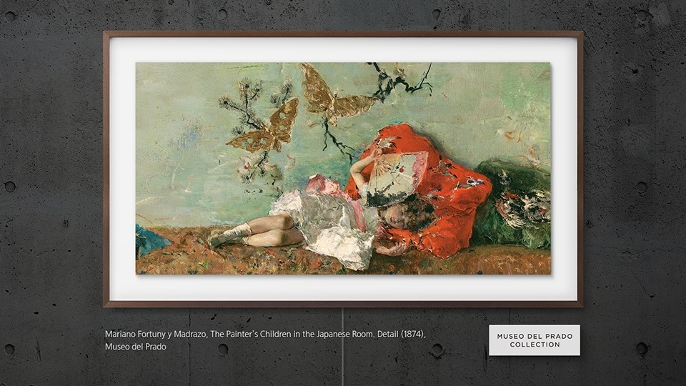Samsung's The Frame displaying an art piece titled The Painter's Children in the Japanese Room, Velázquez by Mariano Fortuny y Madrazo
