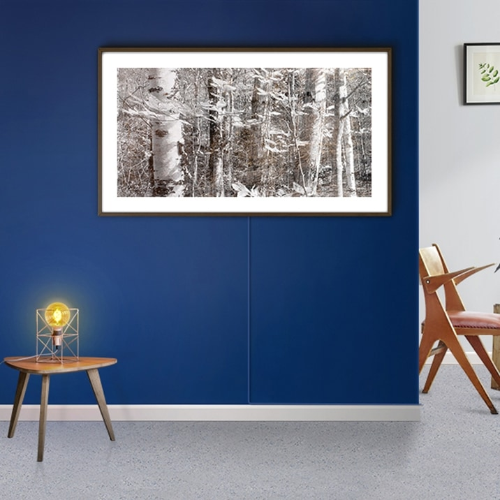 Samsung's The Frame on the wall displaying an art piece titled Mt. Hale Ⅱ by Bill Claps.