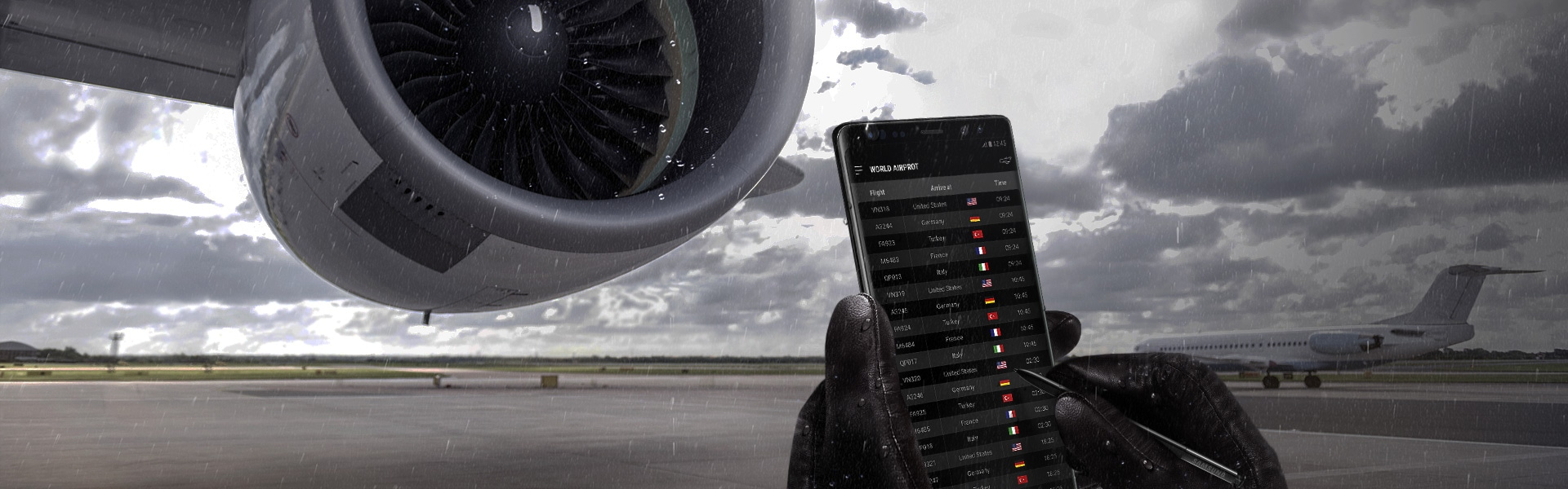 Image of a person using the Galaxy Note8 in the rain in front of an airplane engine