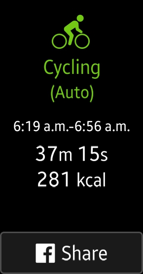 Screenshot of cycling stats from auto tracking mode on Gear Fit2 with a button to share the results to facebook