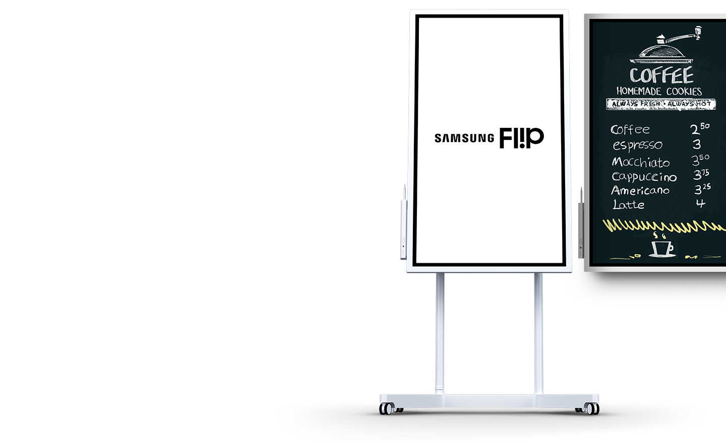 To the left, a stand-up Flip displays the Samsung Flip logo, while a wall-mounted Flip display unit on the right shows a coffee shop menu.