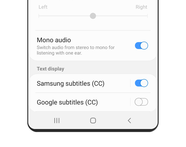 Mono audio is turned 'on'. The description text reads: Switch audio from stereo to mono for listening with one ear.
