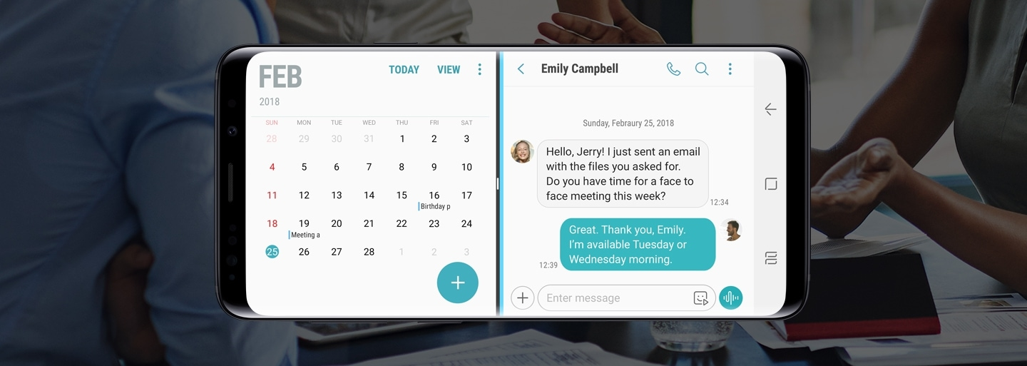 Galaxy S9 or S9+ in landscape mode with Calendar and Messages apps on-screen