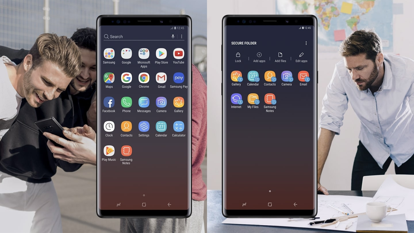Two Galaxy Note9 phones side by side, one displaying the apps screen and the other displaying the Secure Folder apps screen