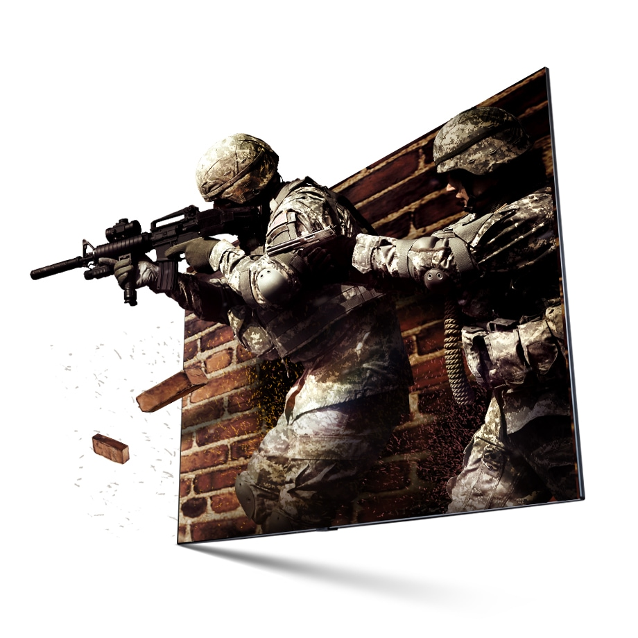 A scene from a FPS game. A solider is about to shooting gun to target. QLED TV helps you get immersed in the shooting game. It looks real and dynamic.
