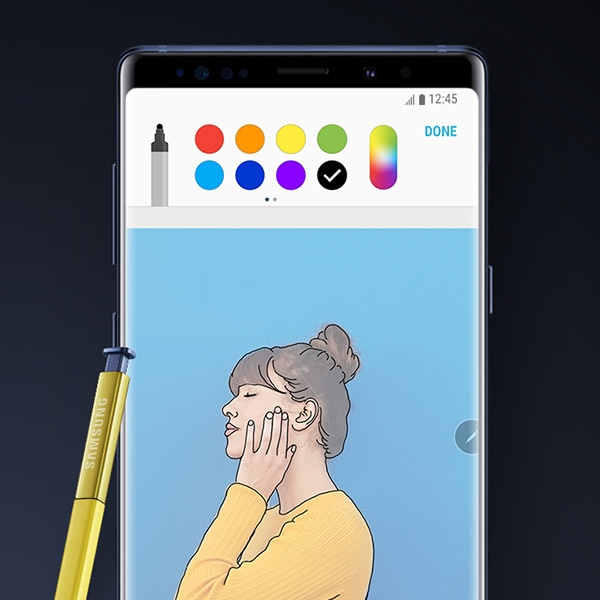A drawing of a woman in Photo Drawing mode on screen of Galaxy Note9 with S Pen.