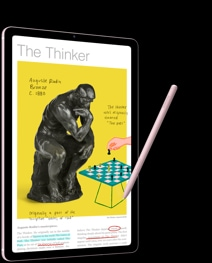 "A black Galaxy Tab S6 Lite with an image of ""The Thinker"" statue and a chess set next to it on-screen."