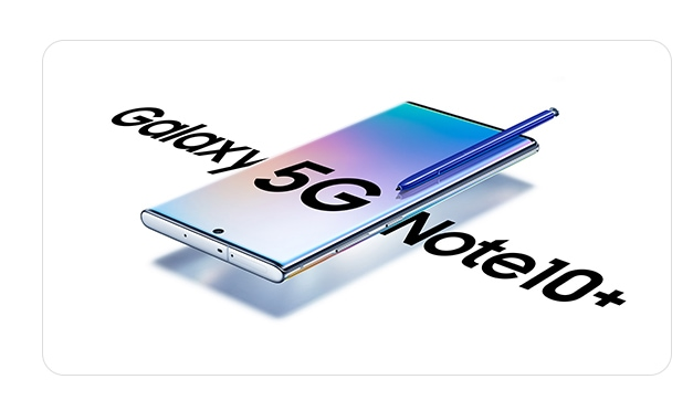 Galaxy Note10 plus 5G laying on its back at a threequarter angle with a blue S Pen laying across its screen and a gradient graphic and text that says 5G onscreen. On either side of the phone is text saying Galaxy Note10 plus.
