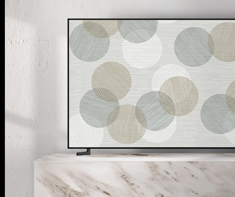 A 2019 QLED TV on ambient mode.