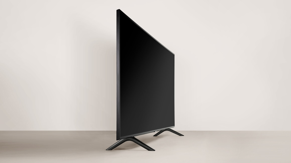 A close up shot of stand from the 2019 new Samsung QLED Q60R. Image shows the Y-shaped & sleek design of stand.