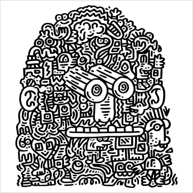 A black and white illustration by Mr. Doodle that resembles a face