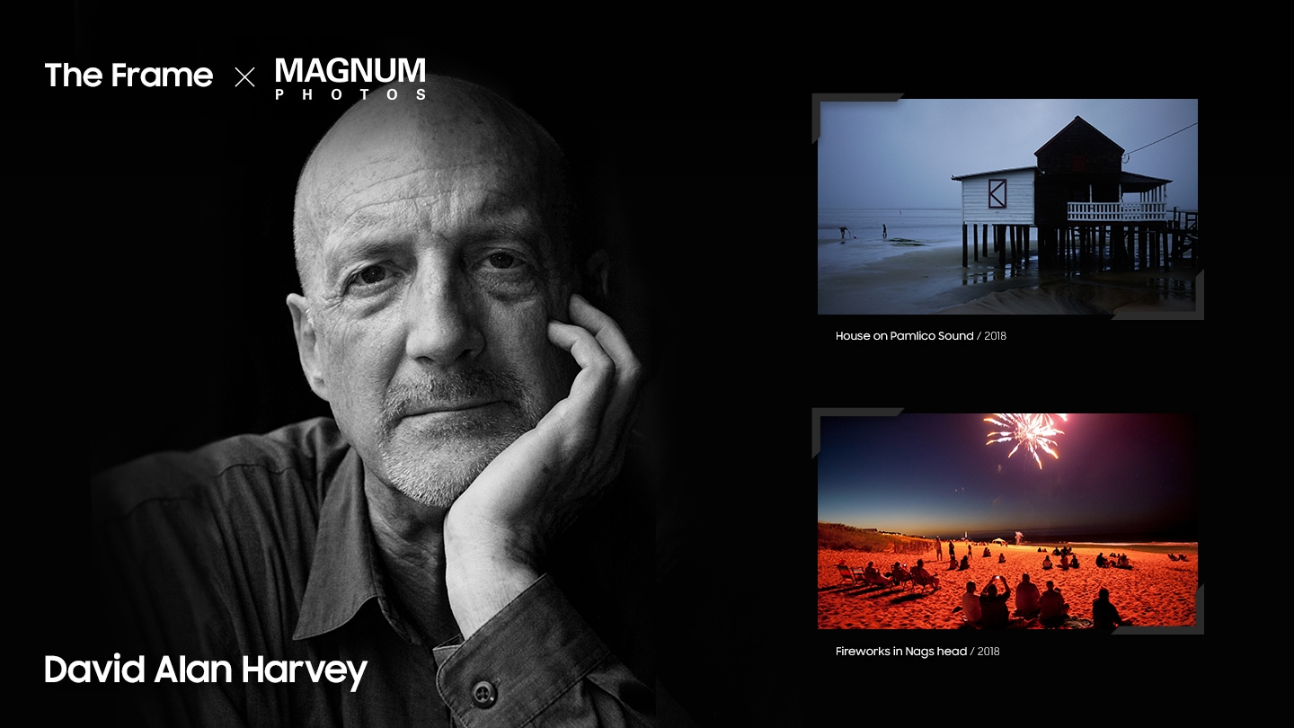 "Magnum photographer David Alan Harvey's profile picture is shown while two of him photos are displayed next to him including ""House on Pamlico Sound"" and ""Fireworks in Nags head"""