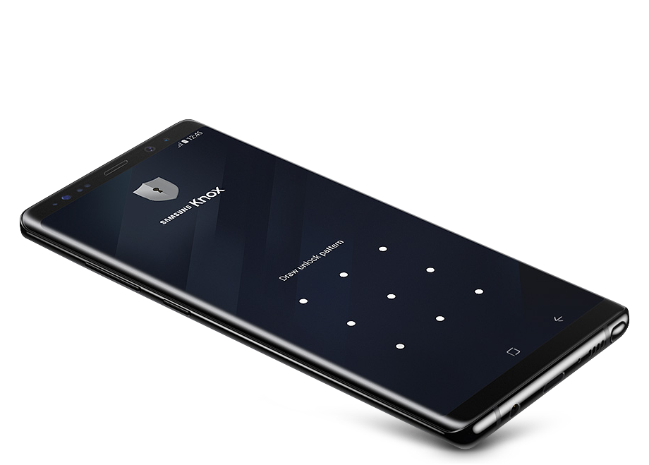 Motion of Galaxy Note8 being deconstructed into the layers of Hardware Root of Trust, Secure Boot & Trusted Boot, TIMA, SE for Android, Knox Container.