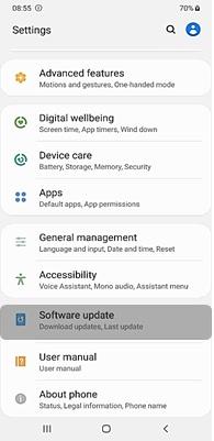 Tap Software Update