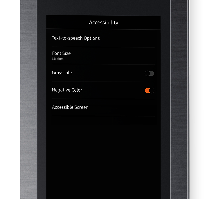 The Text-to-speech Options, Font Size, Grayscale, Negative Color, Accessible Screen are displayed under Accessibility on the screen.