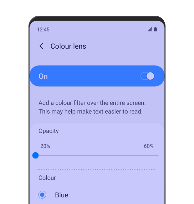 The 'Color Lens' menu is displayed. Color Lens is turned 'on', with 20% opacity and blue selected as the color. The description text reads: Add a color filter over the entire screen. This may help make text easier to read.