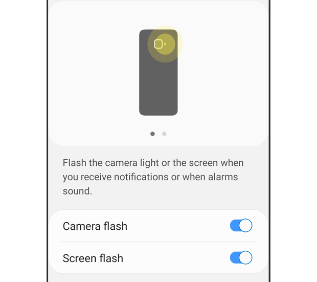The 'Flash notification' menu is displayed. Camera flash and screen flash are turned 'on'. The description text reads: Flash the camera light or the screen when you receive notifications or when alarms sound.