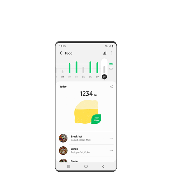 A GUI screen of the Samsung Health Wellness feature showing the calorie intake of the week, calorie intake of 'today,' and the calories and content of each meal.