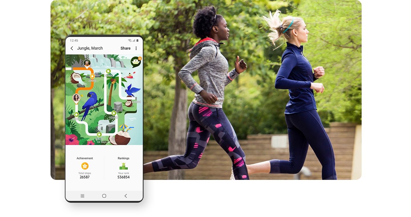 Two women running. A GUI screen shows the Together feature in the Samsung Health app, comparing exercise records with other users.