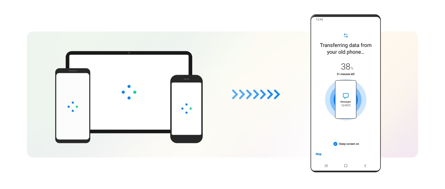 On the left, a Galaxy smartphone, Galaxy tablet, and iphone show the loading symbol on their screens. Arrows directed toward the new Galaxy device on the right indicate that data is being transferred. The interface of the Galaxy device shows Smart Switch copying data from the old device, with progress indicated in percentage and minutes remaining.