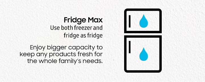 Fridge Max Use both freezer and fridge as fridge Enjoy bigger capacity to keep any products fresh for the whole family's needs.