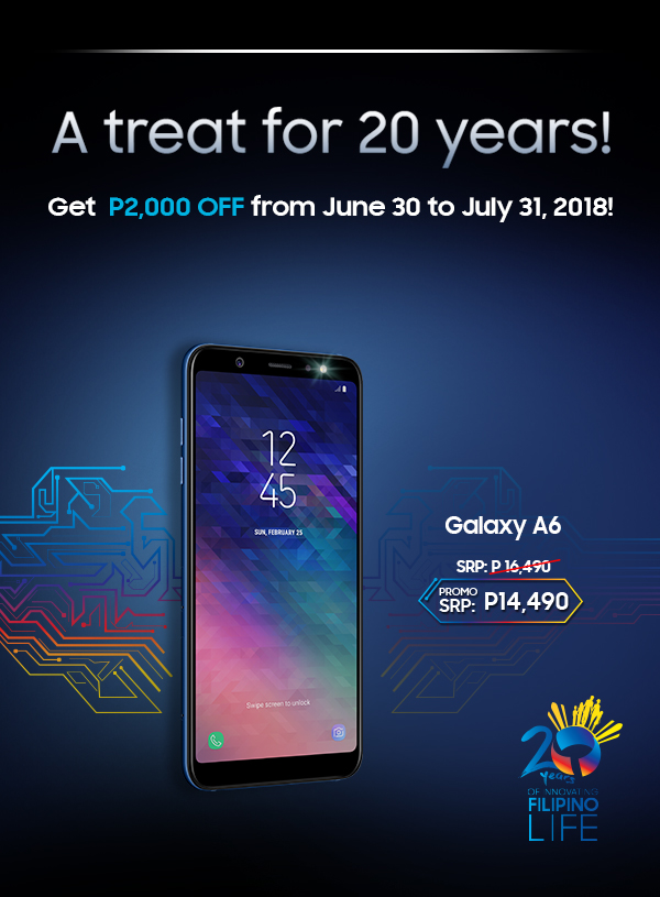 A treat for 20 years! Get P2,000 OFF from June 30 to July 31, 2018