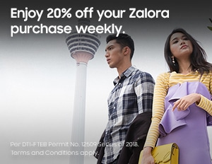 Enjoy 20% off your Zalora purchase weekly