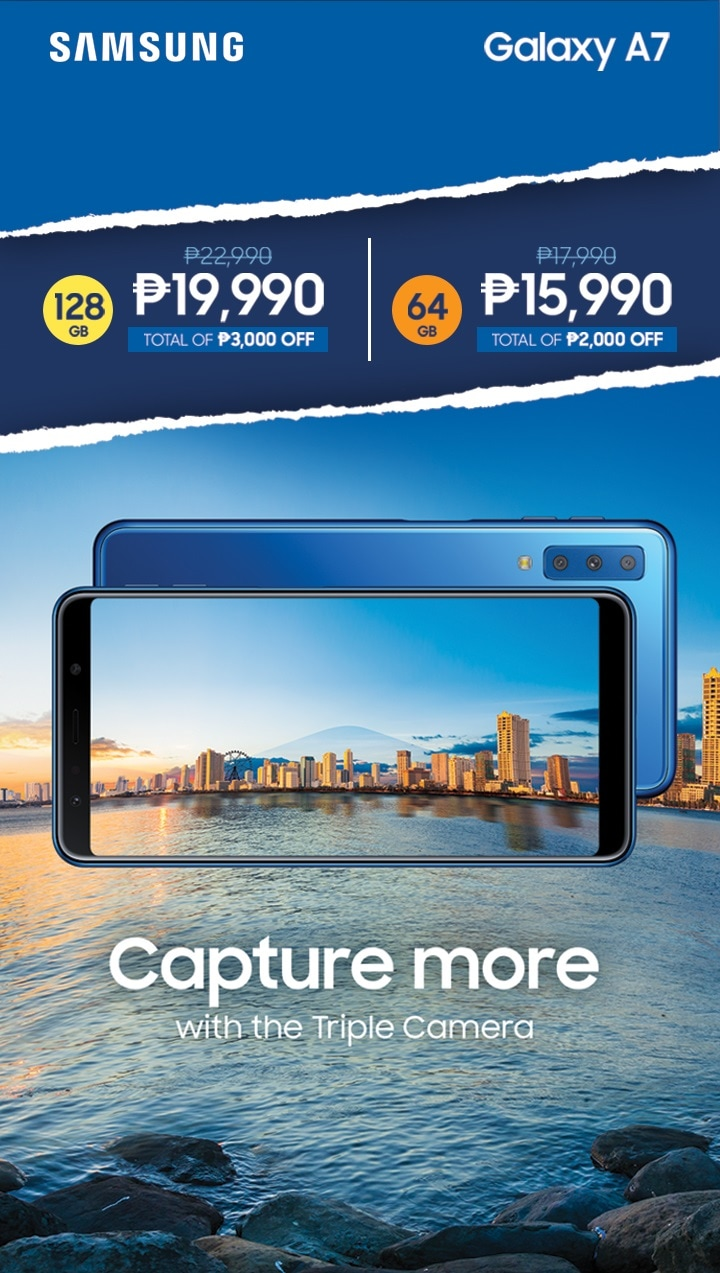 Capture more with the triple camera. 128GB P19,990 only. 64GB P15,990 only.