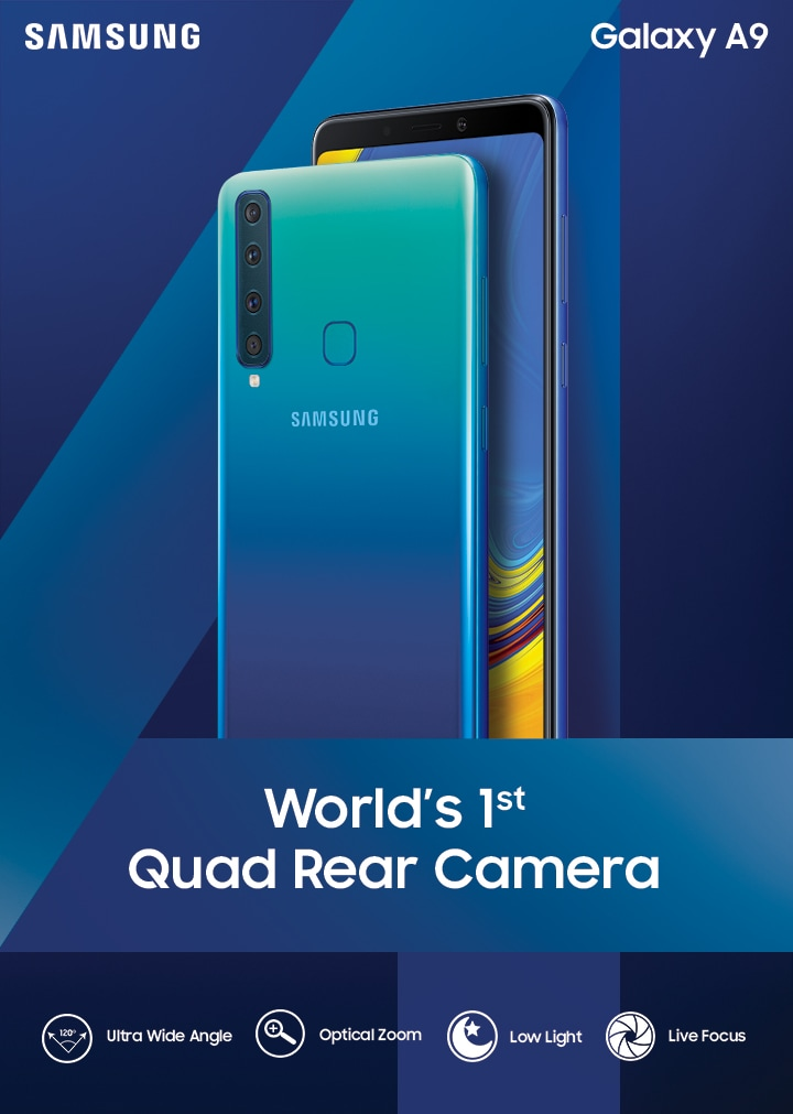 Meet the new Galaxy A9, the World's First Quad Rear Camera Smartphone.