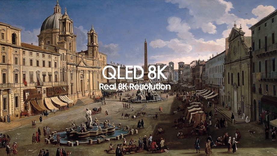 Samsung QLED 8K TV shows quantum dot color with 8K UHD by displaying a painting of Piazza Navona Rome on screen.