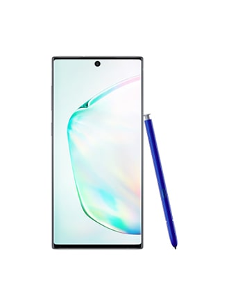 Aura glow front-facing view of a Galaxy Note10 with a blue S Pen leaning against its right side