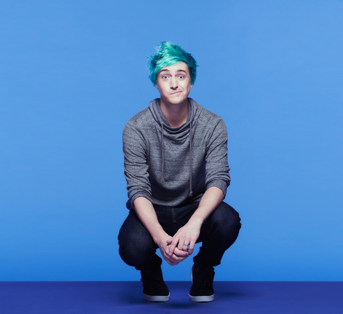 "Tyler ""Ninja"" Blevins crouches down to pose for a photograph at our Samsung 837 Experience Space"