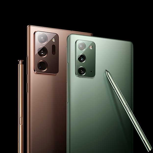 Back views of the Galaxy Note20 | 20 Ultra side by side in Mystic Bronze and Mystic Green