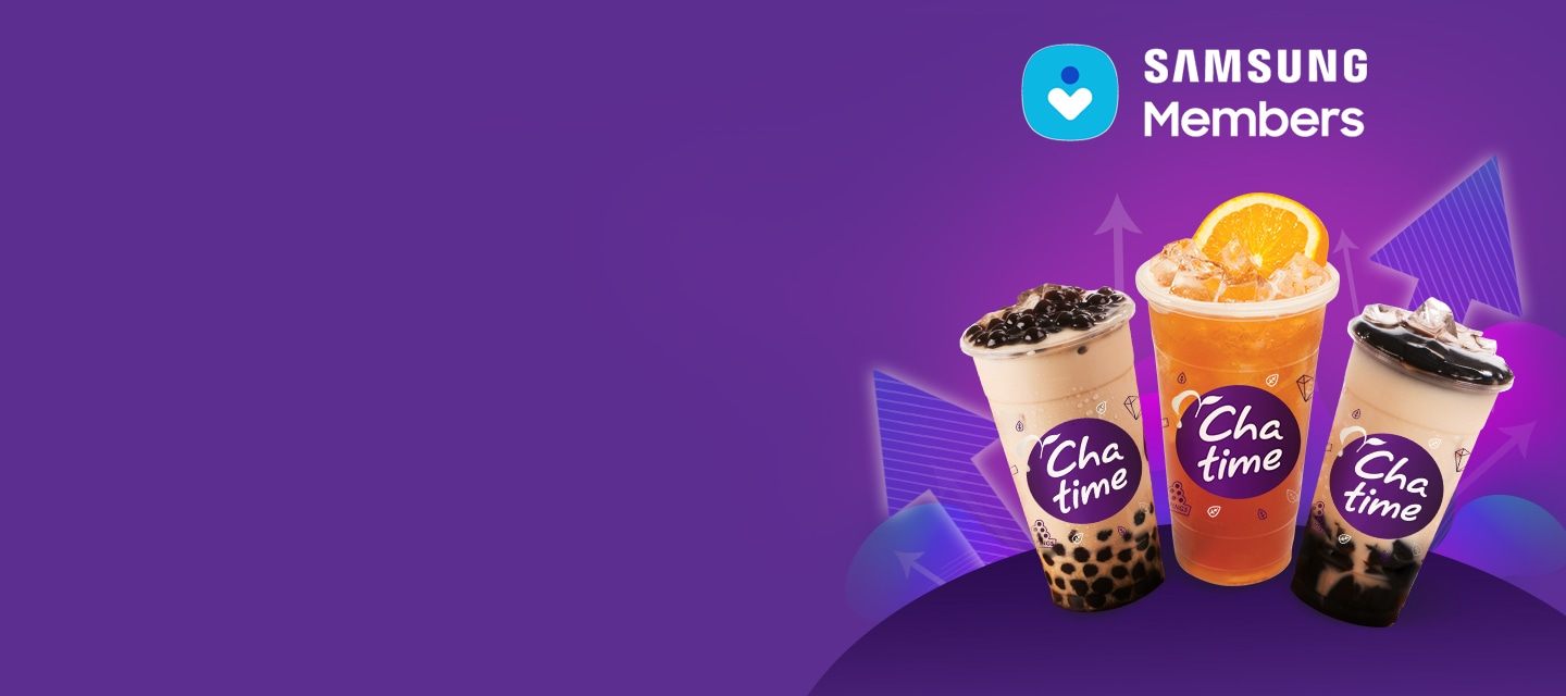 Enjoy FREE  Chatime beverage size upgrade via the Samsung Members app!